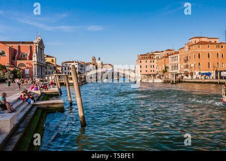 The Grand Canal near Venezia Santa Lucia, the central station of Venice - Stock Photo