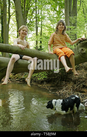 children sitting on a tree that has fallen across a stream - Stock Photo