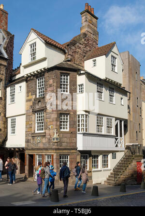 Exterior view of John Knox House on Royal Mile in Edinburgh Old Town, Scotland UK - Stock Photo