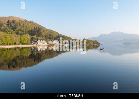 Early spring morning - Luss, Loch Lomond, Scotland, UK - Stock Photo