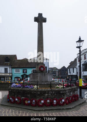Arundel War Memorial in High street of this historic town surrounded by poppy wreaths West Sussex England UK - Stock Photo