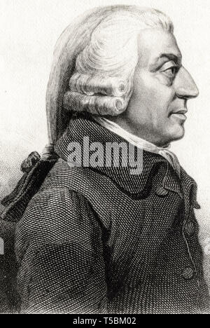 Adam Smith (1723-1790), portrait etching, c. 19th Century - Stock Photo