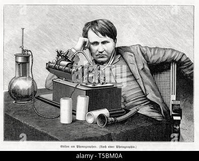 Thomas Edison (1847-1931), engraving, listening to the Edison Phonograph, from Stein der Weisen 1889 - Stock Photo