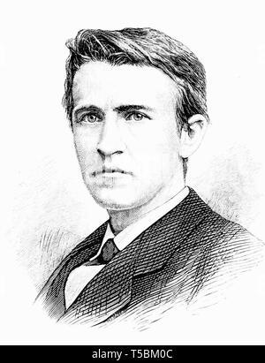 Thomas Alva Edison (1847-1931), portrait illustration, 1878 from Popular Science Monthly magazine - Stock Photo