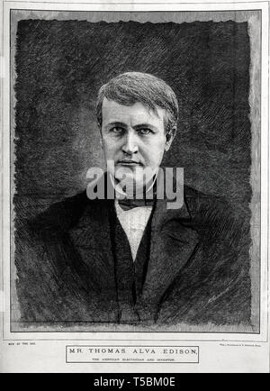 Thomas Alva Edison (1847-1931), portrait, wood engraving by M. K. L. Wright after V. Daireaux, 19th Century - Stock Photo
