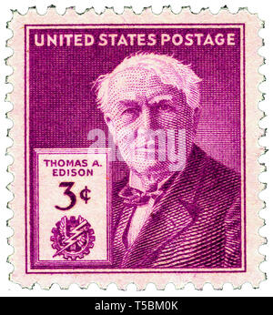 Thomas Edison (1847-1931) 3-cent 1947 issue U.S. stamp, released to mark the 100th anniversary of his birth, 11 February 1947, US Postal Service - Stock Photo