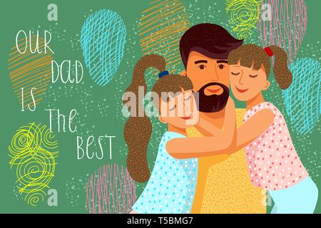 Our dad is the best. Cute flat cartoon father and Two daughters with balloons. Horizontal Vector - Stock Photo