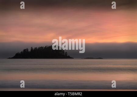 Mackenzie Beach, Tofino BC. Mackenzie Beach at sunset on the west coast of Vancouver Island in Tofino. BC, Canada. - Stock Photo