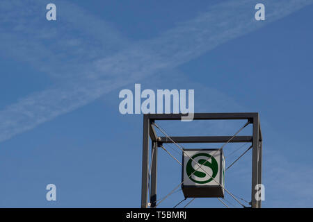 Berlin S-Bahn, is a rapid transit railway system in and around Berlin - Stock Photo