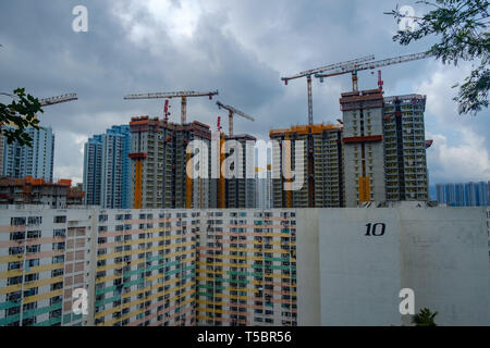 New public housing being constructed behind Pak Tin Estate in Shek Kip Mei, Hong Kong - Stock Photo
