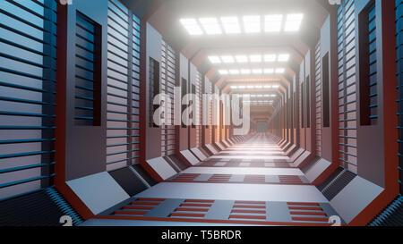 3d rendering. Futuristic background architecture Sci-Fi corridor - Stock Photo