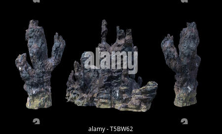 hydrothermal vents, black smoker (3d rendering isolated on black background) - Stock Photo