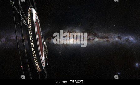 space station, futuristic habitat in front of the Milky Way galaxy (3d science fiction illustration) - Stock Photo