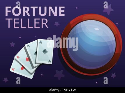 Fortune teller playing cards concept banner. Cartoon illustration of fortune teller playing cards vector concept banner for web design - Stock Photo