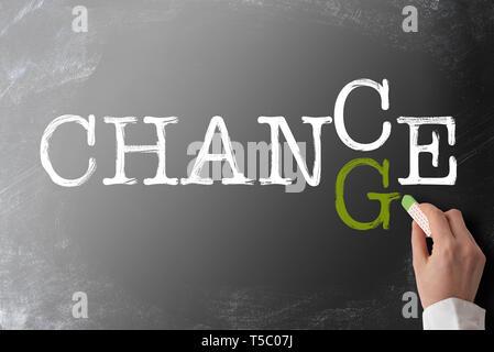 word CHANGE turning into CHANCE on blackboard - Stock Photo