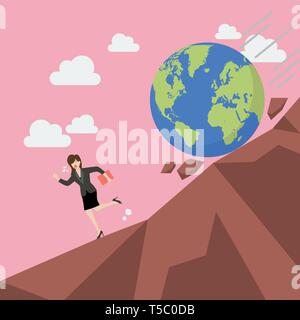 Woman running away from planet earth that is rolling down to her. Climate change concept - Stock Photo