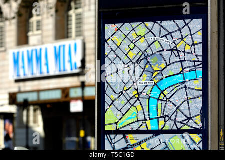 London, England, UK. Tourist information map 'You are Here' - Aldwich / Strand - Stock Photo