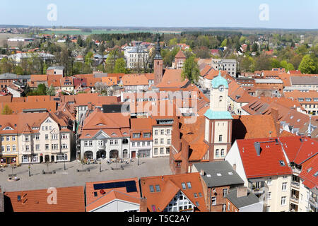 Wittstock, Brandenburg / GERMANY 21 April 2019: cityscape of town Wittstock in Germany. Aerial view over the city with its small stores and people wal - Stock Photo