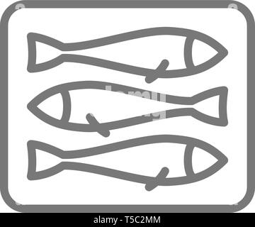 Sprats, fish line icon. - Stock Photo
