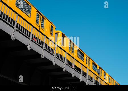The Berlin U-Bahn /subway train on elevated part of the U1 line in Kreuzberg - Stock Photo