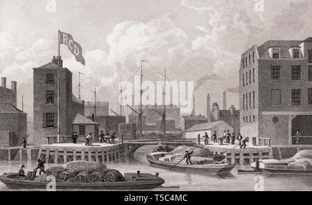 Entrance to the Regent's Canal, Limehouse, London, illustration by Th. H. Shepherd, 1828 - Stock Photo