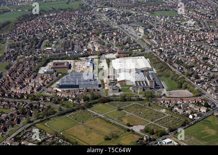 aerial view of Bulmer & Lumb manufaturing factory & Sonoco Consumer Products Ltd, Bradford, West Yorkshire - Stock Photo