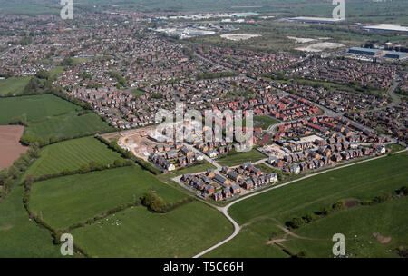 aerial view of new homes being built at Middlewich, Cheshire, UK - Stock Photo