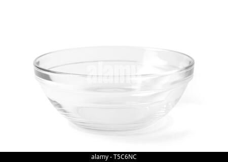 Transparent empty glass bowl for soup and salad, with a path isolated on white background. - Stock Photo