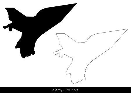 Marib Governorate (Governorates of Yemen, Republic of Yemen) map vector illustration, scribble sketch Ma'rib map - Stock Photo