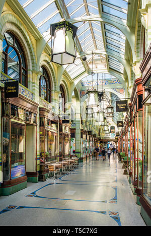 Norwich Royal Arcade that runs from the market place towards Norwich Castle and was designed by architect George Skipper in 1899. Norfolk, England, UK. - Stock Photo