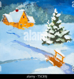 Oil painting night landscape. Country house in the winter. Winter landscape, snow, snowdrift, fence. Night, evening, hut. A strong silhouette of trees - Stock Photo
