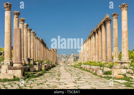 Amman, Jordan. detail of Roman columns inside the citadel, known archaeological site of tourism destination. Stock Photo