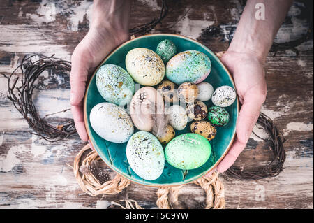 Easter composition. Female hands holding a plate with colorful Easter eggs. - Stock Photo