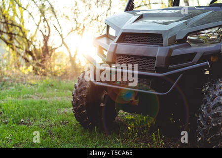 ATV or UTV 4x4 vehicle off-road recreation in green forest area at sunset - Stock Photo