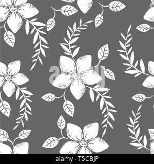 Vector abstract background flowers seamless pattern