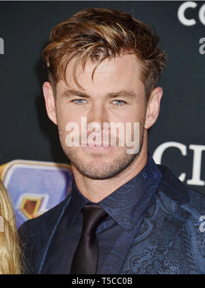 LOS ANGELES, CA - APRIL 22: Chris Hemsworth arrives at the world premiere Of Walt Disney Studios Motion Pictures 'Avengers: Endgame' at the Los Angeles Convention Center on April 22, 2019 in Los Angeles, California. - Stock Photo