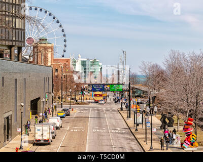 Navy Pier, Chicago-March 27, 2019: A view of the entrance to Navy Pier on Illinois Street, from the Navy Pier Pedestrian Flyover. Main streets. - Stock Photo