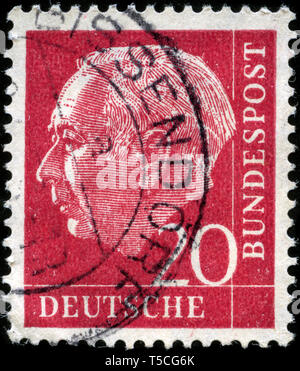 Postage stamp from the Federal Republic of Germany in the Federal President Theodor Heuss series issued in 1954