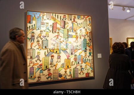 Paris, France. 3th April, 2019. Antonio Seguí exhibited at Art Fair Art Paris. Credit: Veronique Phitoussi/Alamy Stock Photo - Stock Photo