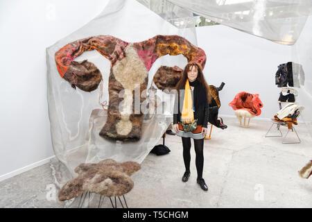 Paris, France. 3th April, 2019. Isabelle Plat exibited at Paris Art Fair . Credit: Veronique Phitoussi/Alamy Stock Photo - Stock Photo