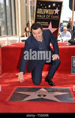 Los Angeles, CA, USA. 23rd Apr, 2019. Seth MacFarlane at the induction ceremony for Star on the Hollywood Walk of Fame for Seth McFarland, Hollywood Boulevard, Los Angeles, CA April 23, 2019. Credit: Michael Germana/Everett Collection/Alamy Live News - Stock Photo
