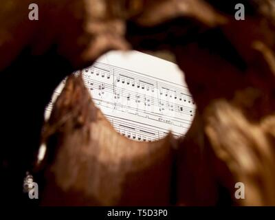 Old paper of sheet music for classical piano. - Stock Photo