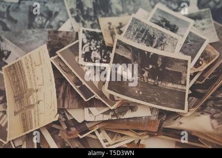 old analog photos in tirana market II, albania - Stock Photo