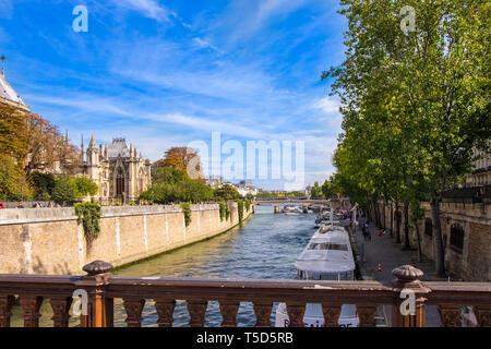 Pont au double in Paris, France. - Stock Photo