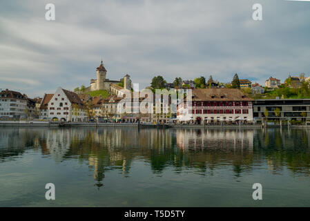 view of the historic Swiss city of Schaffhausen with a great view of the old part of town - Stock Photo