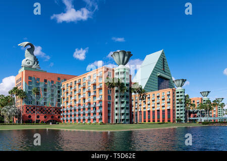 The Walt Disney World Dolphin is a resort hotel designed by architect Michael Graves, Bay Lake, Florida, USA. - Stock Photo