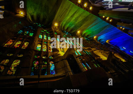 Barselona, Spain,November 14, 2017. The Basilica redemptive Temple of the Holy family Sagrada by  Antonio Gaudi from the inside - Stock Photo