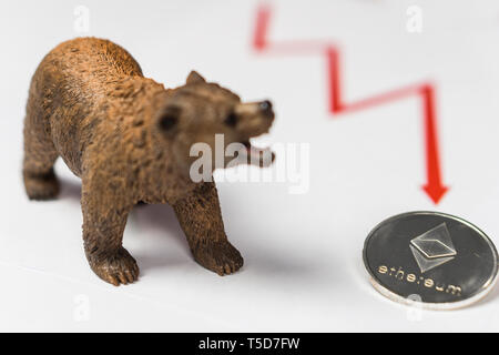 Cryptocurrency Ethereum price crash and drop as a bear trend concept - Stock Photo