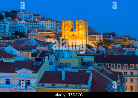 View of Lisbon Cathedral at twilight. Portugal - Stock Photo