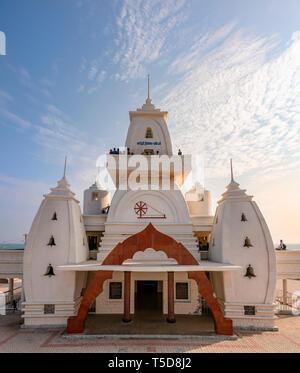 Vertical view of the Gandhi Memorial Mandapam in Kanyakumari, India. - Stock Photo